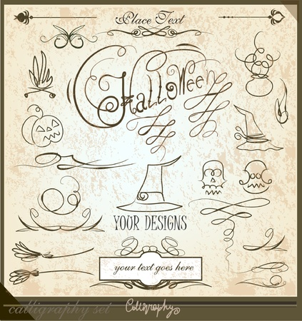Halloween calligraphic set Vector