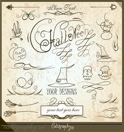 apparition: Halloween calligraphic set