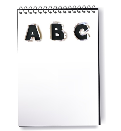 notebook with ripped paper ABC design Stock Vector - 10742726