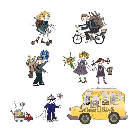 Goin enfants à l'école Banque d'images - 10742730