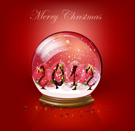 snowglobe: Christmas background with year sing made of bushes