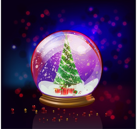 snowglobe with a Christmas tree inside  Vector