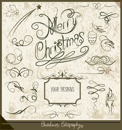 Calligraphic set Merry Christmas Vector