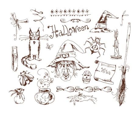 doodle Halloween set  Vector