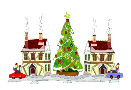 Christmas town illustration Vector