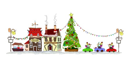 Christmas town illustration Stock Vector - 10779957