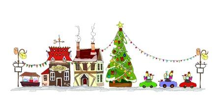 casita de dulces: Ilustración de la ciudad de Navidad