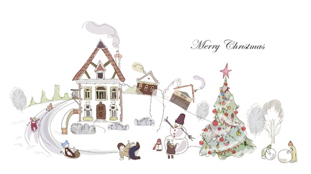outside the house: Happy Christmas Illustration