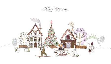 마을에서 크리스마스 시간