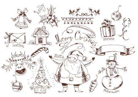 Christmas doodle set Vector