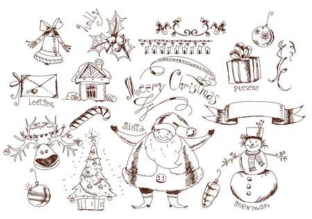 Christmas doodle set Vector