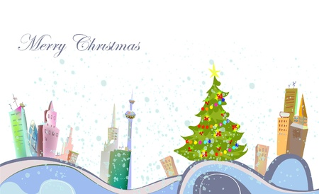 folk village: Christmas background with city view