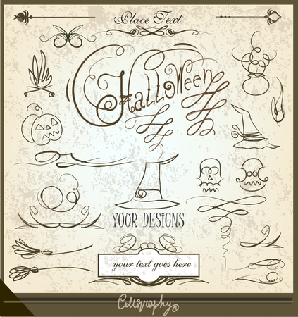 gruselig: Halloween Doodle und callograpy gesetzt Illustration