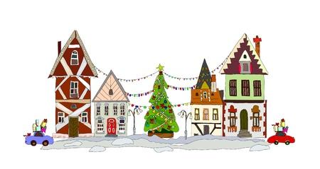 Christmas street Vector