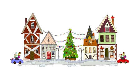 Christmas street Stock Vector - 10830064