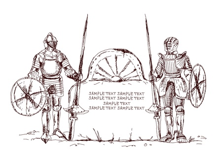 royal guard: Knights keeping screen for your text Illustration