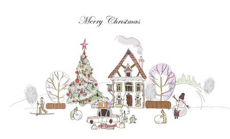 Christmas in the village Vector