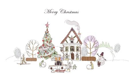 Weihnachten im Dorf Standard-Bild - 10830083