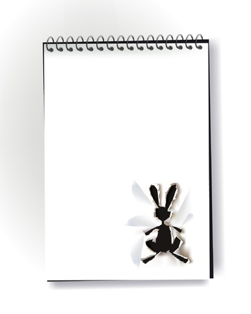 Notepad with ripped paper design of bunny Vector