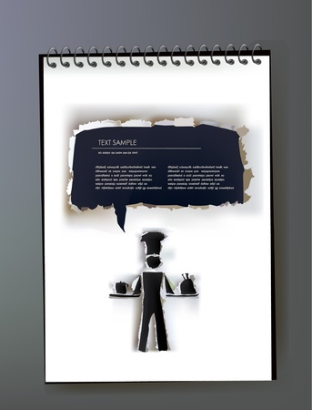 Notepad with ripped paper design of cook and bubble Vector