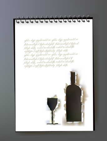 message bottle: ripped paper design of wine bottle and notepad