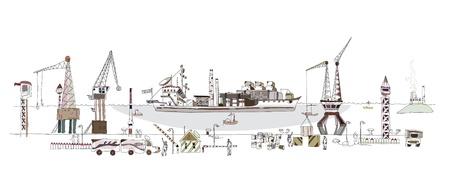Gran ilustración del puerto