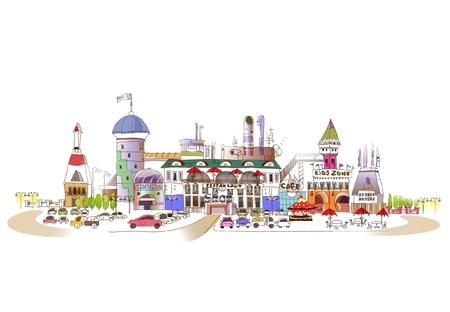 Stad van de winkels (mega opslag afbeelding) Stockfoto - 10949495