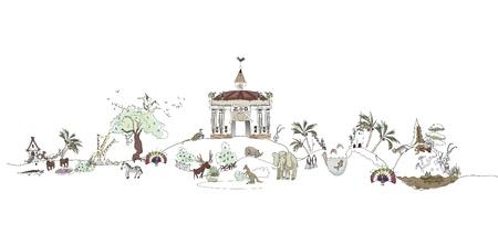 orchid tree: Zoo illustration Illustration