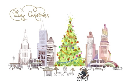 Capitals High street in the Christmas Vector