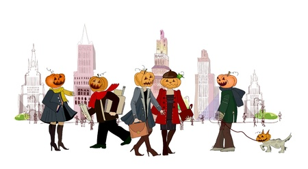 bewitched: City in the Halloween eve and office people after work