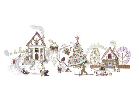 마을에있는 크리스마스 일러스트