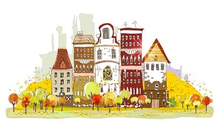 tall buildings: Autumn street