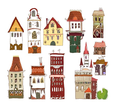 scape: European houses set