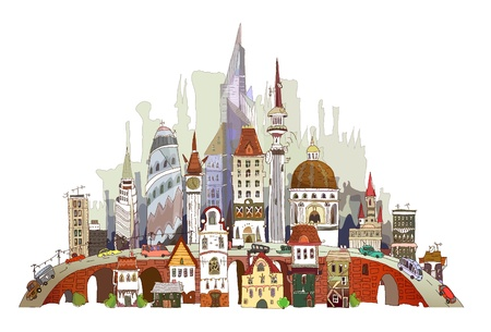 commute: Modern city illustration (old and new architecture)