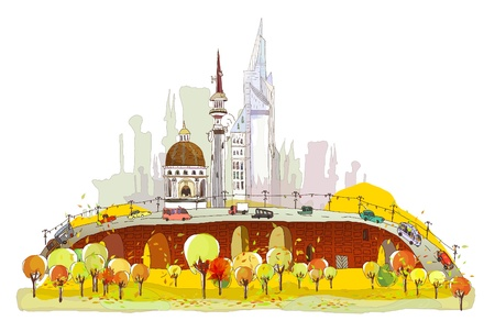 web design bridge: Autumn in the city background
