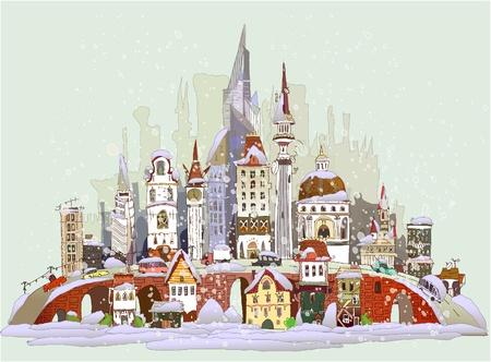크리스마스 도시 배경