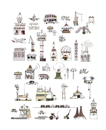 Big collection of city  (houses, factory, office buildings, farm, traffic, buses, army, airplanes and other) Vector