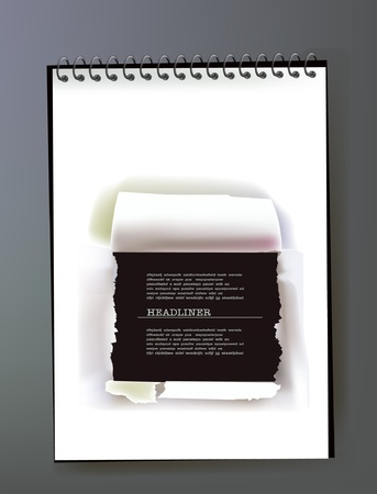 broke: paper ripped frame on the note pad page