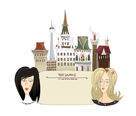 girls and the city background with space for text Stock Vector - 11078040