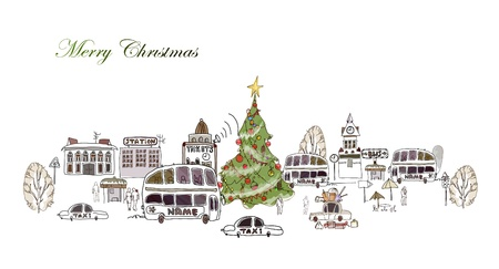 Christmas on the bus station Vector