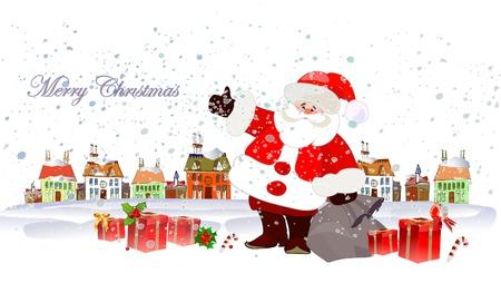 santas village: Santa Clause and lots of presents Illustration