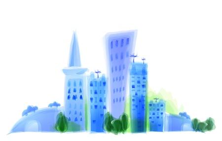 central park: Ilustraci�n de la ciudad moderna