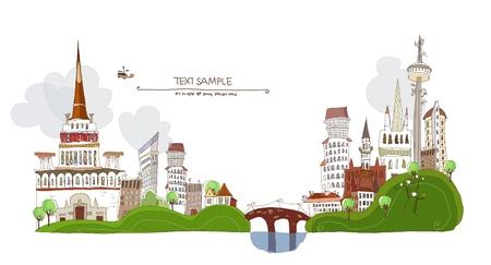 hoog gras: Twee steden met een brug verbonden Stock Illustratie