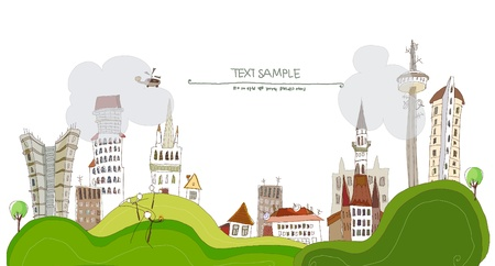 web design bridge: city and screen for text Illustration