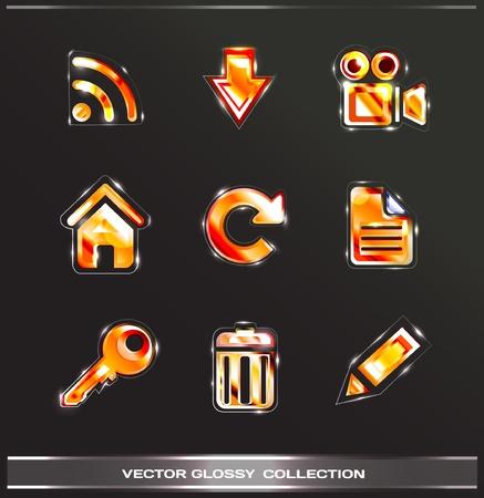 광택 아이콘 2 집 (빨강 세트)