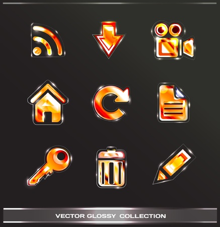 glossy icons vol.2 (red set) Vector