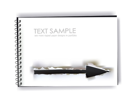note pad with ripped design of arrow Vector