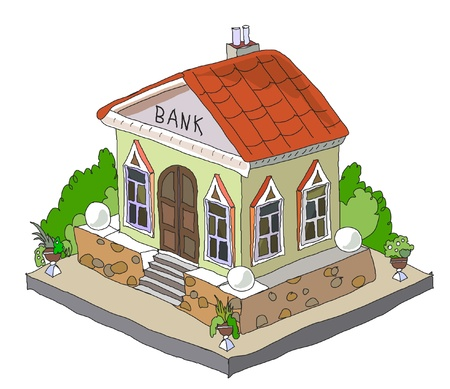 loans: icon of bank Illustration