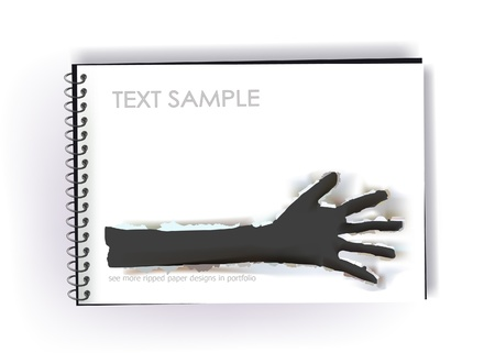 notepad with ripped paper design of a hand Vector