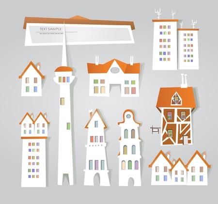 city set (stickers) Vector